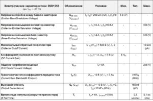 Значения электрических параметров d1555