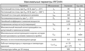 Максимальные параметры irfz44n
