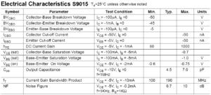 Параметры электрические s9015