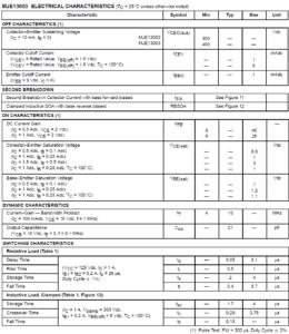 Электрические параметры mje13003, mje13002 от Motorola