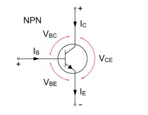 Напряжения смещения для NPN-структуры