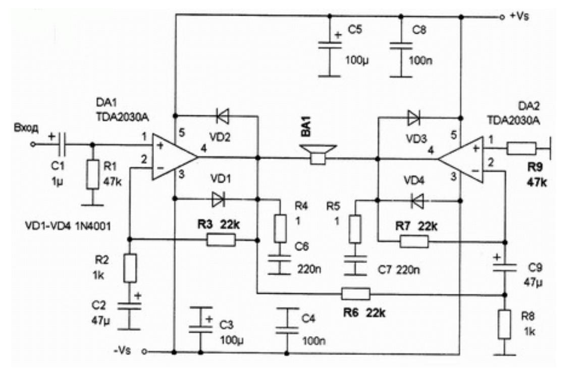 Пример мостовой схема усилителя на tda2030