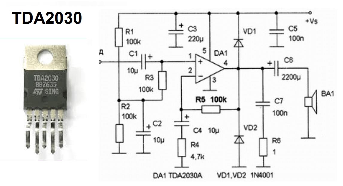 Вид TDA2030 с примером обвязки в типовом УНЧ