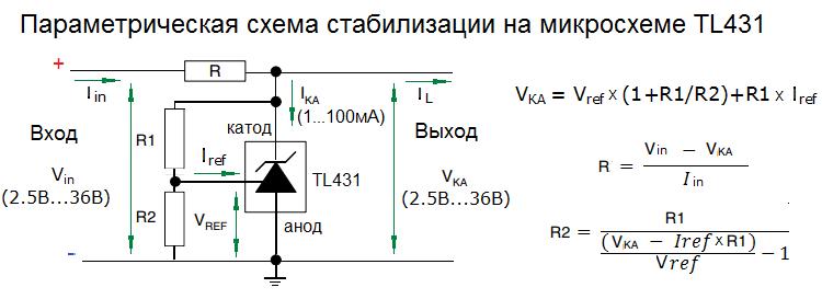 Расчет параметрической схемы на TL431