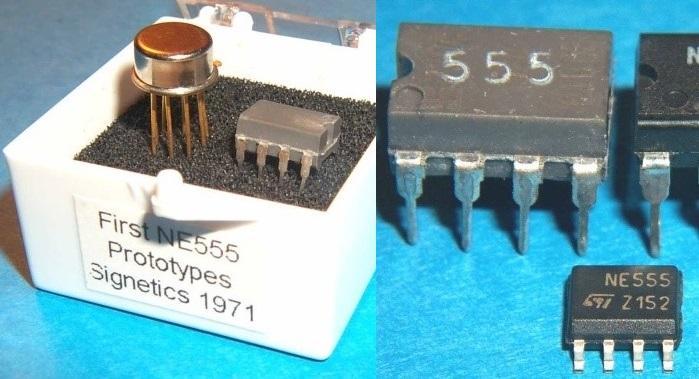Фотография первых микросхем 555 от компании Signetics