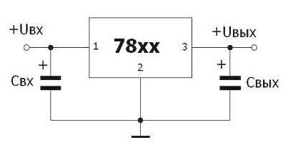 Типовая схема подключения L7812