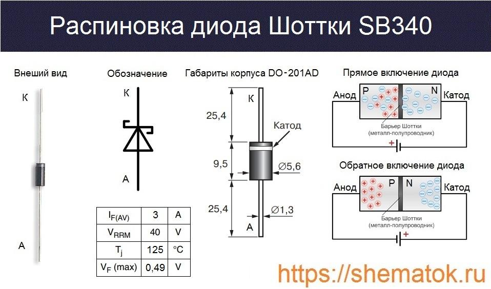 Внешний вид, габариты и цоколевка SB340